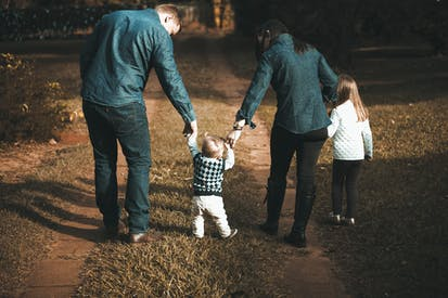 Family Walking On Path
