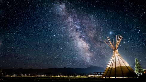 Photo Of Teepee Under A Starry Sky