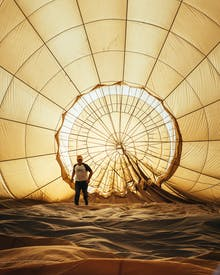 Man Inside Hot Air Balloon