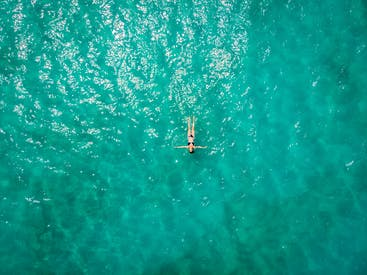 Aerial View Of Person In Body Of Water